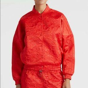 Adidas floral embossed Bomber Jacket